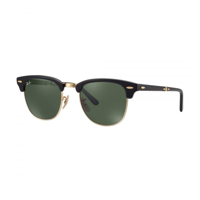 Ray Ban Ray-Ban Clubmaster Foldable Black Gold Sunglasses RB2176 901