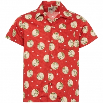 Red Japanese Springtime Aloha Shirt