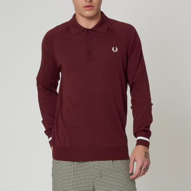 Fred Perry Laurel Wreath Reissues Long Sleeved Knitted Shirt - Aubergine