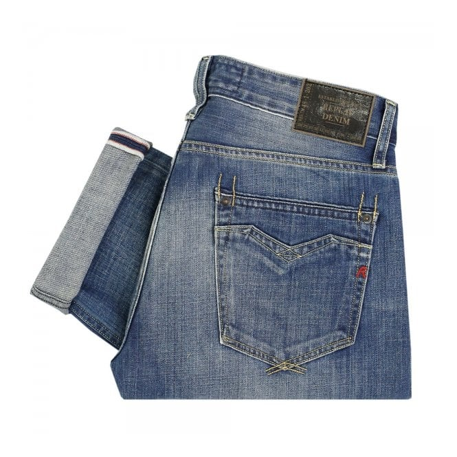 Replay Jeans Newbill Washed Deep Blue Denim Jeans MA955000