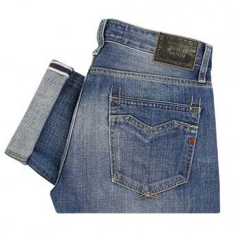 Replay Jeans Newbill Washed Deep Blue Denim Jeans MA955000