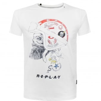 Replay Printed White T-Shirt M3285