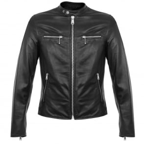 Replay Zip Black Leather Biker Jacket M8830
