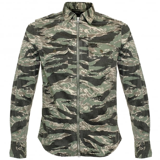 Replay Jeans Replay Zip Front Camouflage Print Shirt M4965