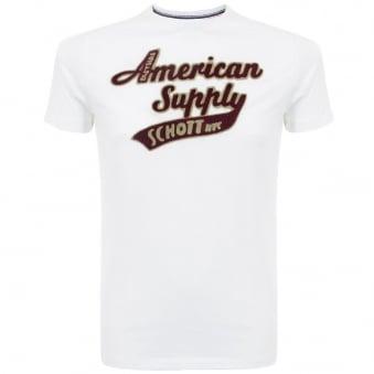 Schott NYC Denis 1 White T-Shirt DMS1509