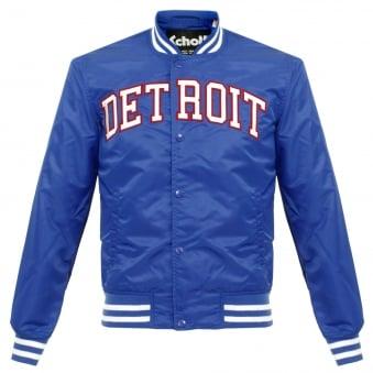 Schott NYC Stadium Detroit Electric Blue Bomber Jacket