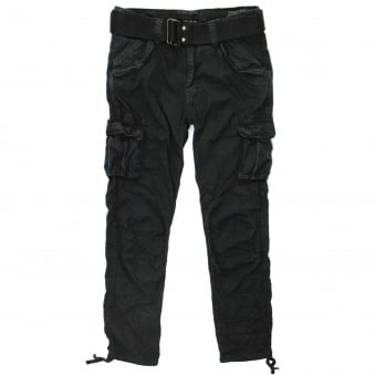 Schott NYC TR Battle 70 Black Cargo Trousers TRBATLE70PKR