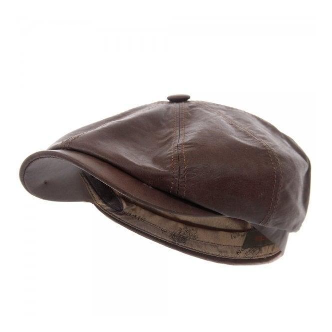Stetson Hats Stetson Hatteras Brown Lambskin Newsboy Cap