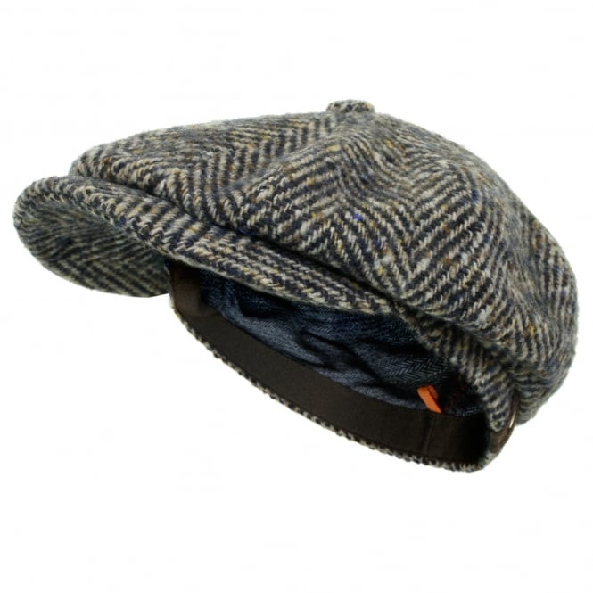 Stetson Hats Stetson Herringbone Grey Wool Newsboy Flat Cap 6840502 327