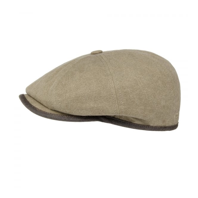 Stetson Hats Stetson Seward Green Khaki Canvas Flat Cap 6841125