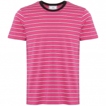 Striped Short Sleeves T-Shirt - Rose