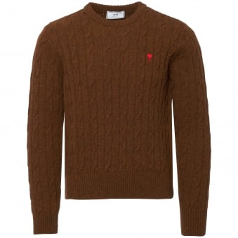 Tobacco Cable-Knit Sweater