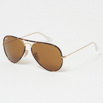 Tortoise Aviator Full Colour Sunglasses - Brown Classic B-15 Lenses