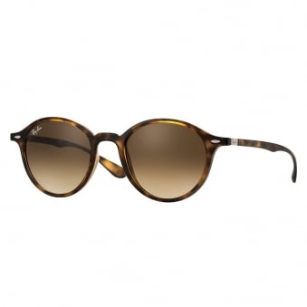 Tortoise Round Liteforce Sunglasses - Brown Gradient Lenses