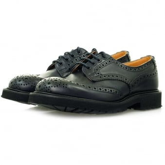 Trickers X Stuarts London Derby Brogue Navy Shoes M7794