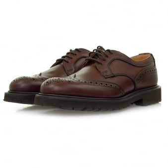 Tricker's X Stuarts London Derby Burgundy Brogue Leather Shoes M7788