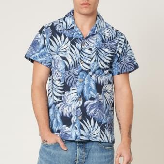 Tropical Leaves Navy Aloha Shirt
