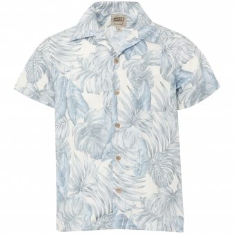 Tropical Leaves White Aloha Shirt