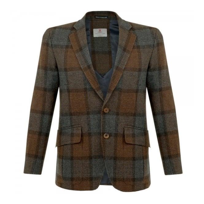 Turnbull & Asser Ashby Wool Brown Check Blazer MBLZ004