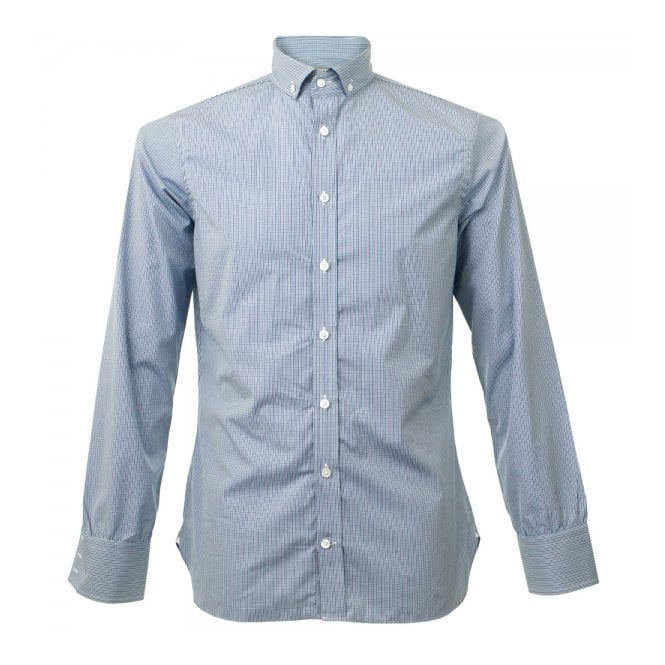 DEADSTOCK Turnbull & Asser Informalist Fine Check Teal Shirt W5640