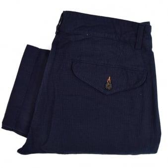 universal Works Aston Panama Navy Trousers 14512