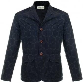 Universal Works Barra Large Tile Navy Blazer Jacket 14174
