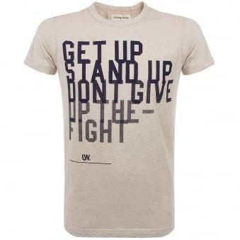 Universal Works Get Up Print Tee Sand Jersey T-Shirt 12573