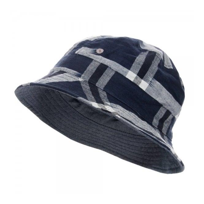 Universal Works Ikat Check Navy Bucket Hat 12817