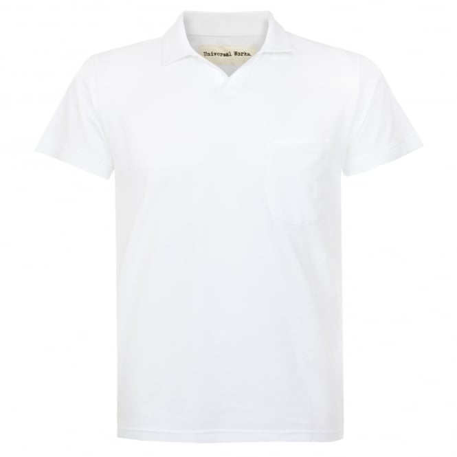 Universal Works Pique White Polo Shirt 16580