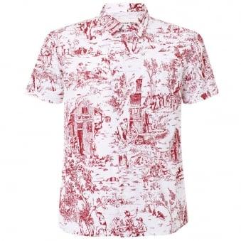 Universal Works Red Printed Poplin Road Shirt 12162