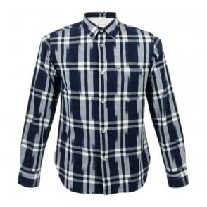 Universal Works Standard Shirt Navy Ikat Check