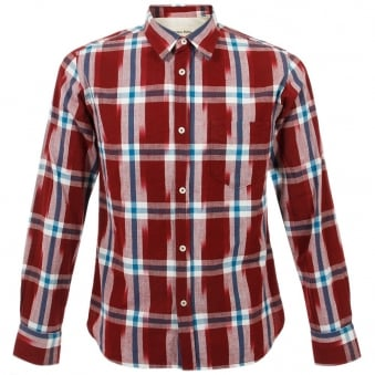 Universal Works Standard Shirt Red Ikat Check
