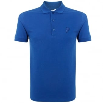 Versace Half Medusa Blue Pique Polo Top V800499