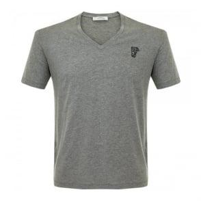 Versace Half Medusa Medium Grey V-Neck T-Shirt V800490