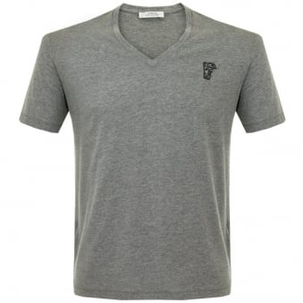 Versace Half Medusa Medium Grey V-Neck T-Shirt V800490