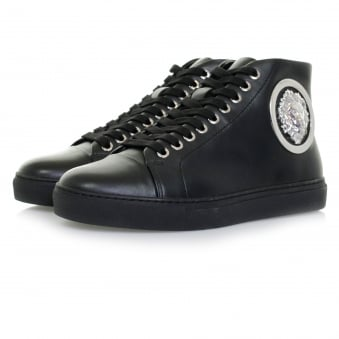 Versace Lion Head Hi Top Black Shoe FSU510C