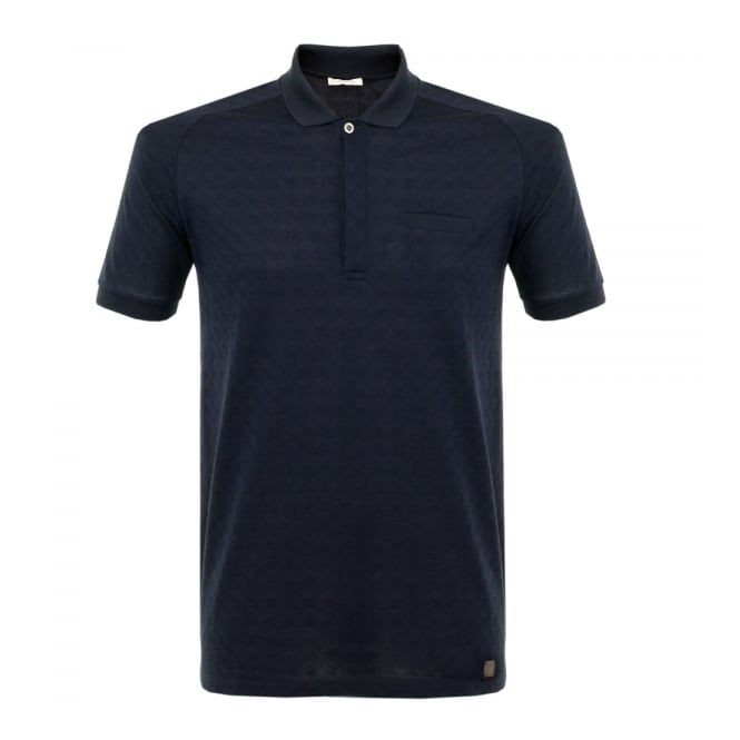 Versace Collection Versace Patterned Navy Polo Shirt V800580