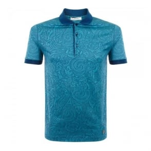 Versace Patterned Turquoise Polo Shirt V800543