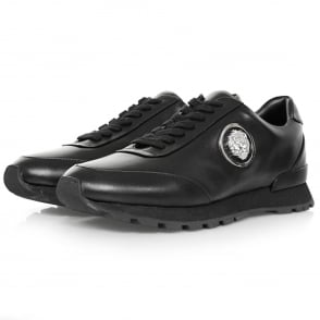 Versus Versace Lionshead Black Leather Shoe FSU503C
