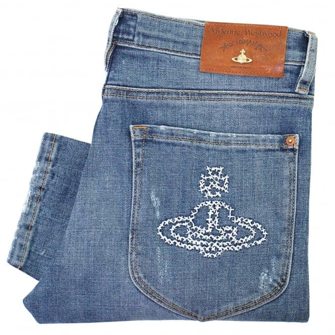 Vivienne Westwood Anglomania Vivienne Westwood Drain Pipe Blue Denim Jeans DS087