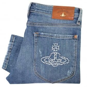 Vivienne Westwood Drain Pipe Blue Denim Jeans DS087