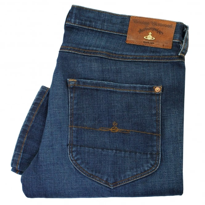 Vivienne Westwood Anglomania Vivienne Westwood New Classic Tapered Blue Denim Jeans DS0IK5