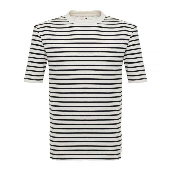 Wood Wood Herman Pristine Off White Striped T-Shirt 10005702-2000