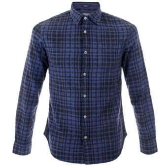 Woolrich Shirt FJ80-3774 Dark Blue Jacquard Check