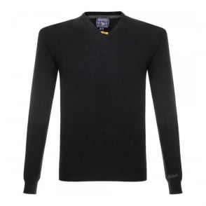 Woolrich Super Geelong V-Neck Knitted Black Jumper 129551-100