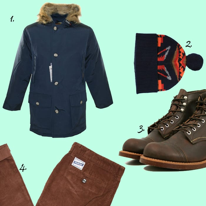 Woolrich Arctic Parka , Ymc Winter Hat, Red Wing Iron Ranger, Farah Cords