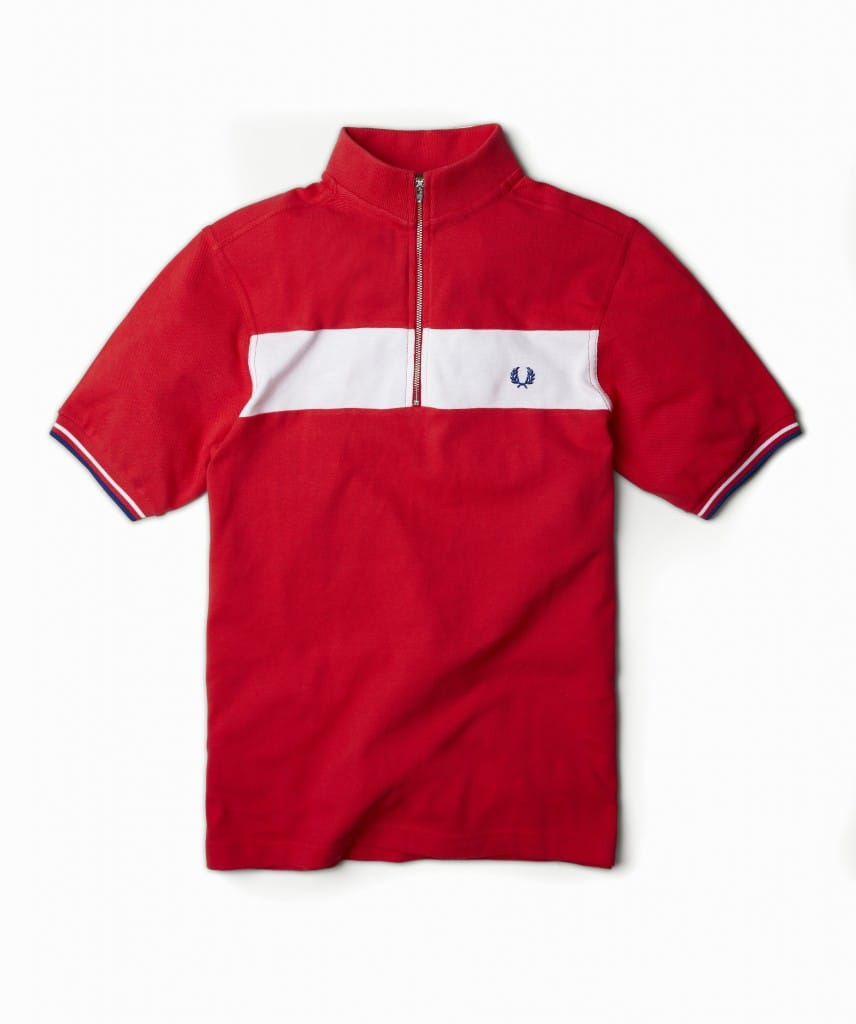 Bradley Wiggins x Fred Perry Red and White Cycle shirt