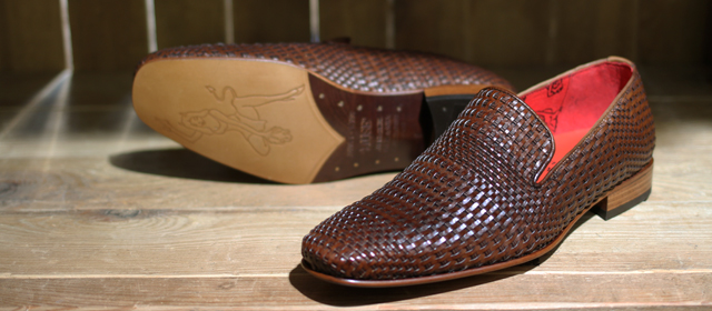 Jeffery West Brown Woven Shoes