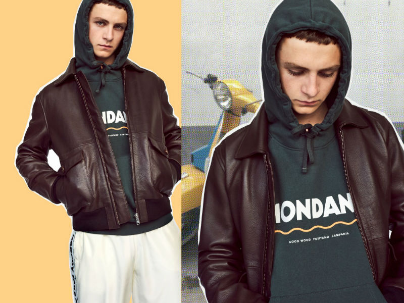 Wood Wood lookbook leather jacket and Mondano hoodie