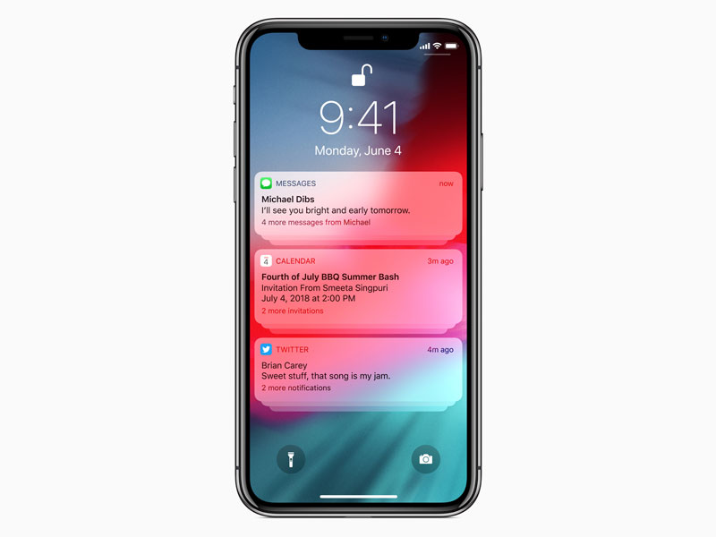 Apple IOS 12 Notifications